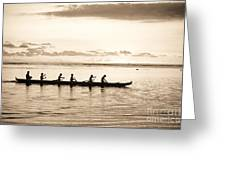 Sunset Paddlers - Sepia Greeting Card