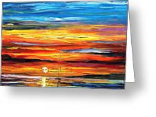 Sunset - Palette Knife Oil Painting On Canvas By Leonid Afremov Greeting Card