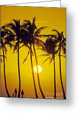Sunset Palms And Family Greeting Card