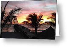 Sunset Palms At Sharky's On The Pier Greeting Card
