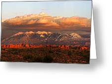 Sunset Panorama In Arches National Park Greeting Card
