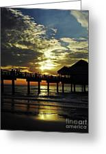 Sunset Pier Reflection Greeting Card