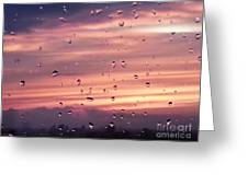 Sunset Raindrops Greeting Card