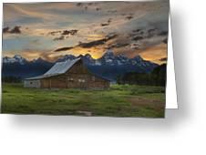 Moulton Barn Sunset Grand Teton National Park Greeting Card