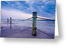 Sunset Reef Pilings Greeting Card by Adam Pender