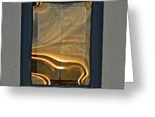 Sunset Reflection On Small Window Greeting Card