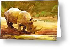 Sunset Rhino Greeting Card