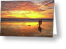 Sunset Ocean Runners Greeting Card