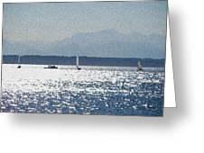 Sunset Sailboats  Greeting Card