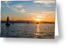Sunset Sailboats Greeting Card
