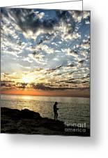 Sunset Sea Fishing  Greeting Card