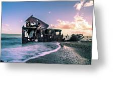 Sunset Shipwreck Greeting Card