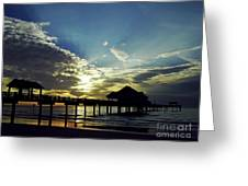 Sunset Silhouette Pier 60 Greeting Card