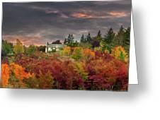 Sunset Sky Over Farm House In Rural Oregon Greeting Card