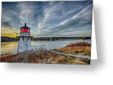 Sunset, Squirrel Point Lighthouse Greeting Card