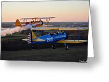Sunset Stearmans Greeting Card