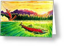 Skiing Into The Sunset Greeting Card
