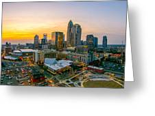 Sunset Sunrise Over Charlotte Skyline North Carolina Greeting Card
