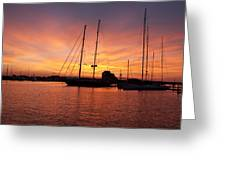 Sunset Tall Ships Greeting Card