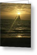 Sunset Through Sailboat Greeting Card