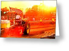 Sunset Tractor Pull Greeting Card