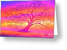 Sunset Tree Cats Greeting Card
