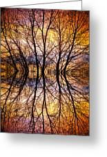 Sunset Tree Silhouette Abstract 1 Greeting Card