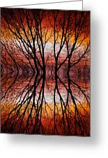 Sunset Tree Silhouette Abstract 2 Greeting Card