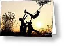 Sunset Tree Swing Greeting Card
