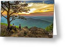 Sunset View At Ravens Roost Panorama Greeting Card