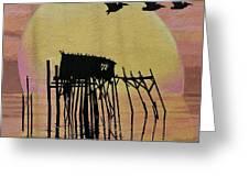 Sunset Wall Mural In Cedar Key, Fl Greeting Card