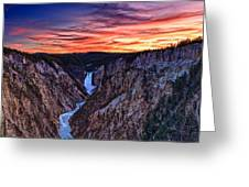 Sunset Waterfall Greeting Card