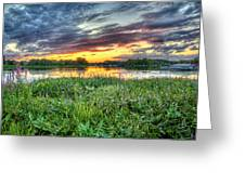 Sunset West Crooked Lake Greeting Card