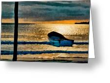 Sunset With Boat Greeting Card