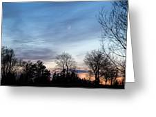 Sunset With Crescent Moon Greeting Card