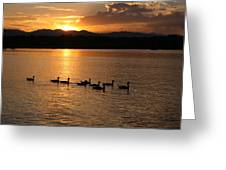 Sunset With Geese 2 Greeting Card