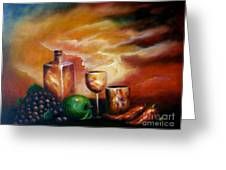 Sunset With Green Apple Greeting Card