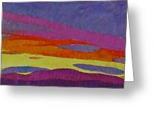 Sunset With Purple Clouds Greeting Card