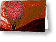 Sunset With Red Hot Air Balloon. Greeting Card