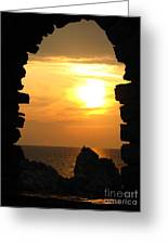 Sunset With Stone Frame Greeting Card