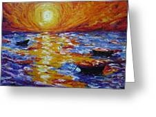 Sunset With Three Boats Greeting Card