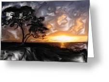 Sunset With Tree Greeting Card by Mark Denham