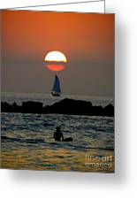 Sunset With Yacht And Surfer Greeting Card