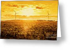 Sunsets And Golden Turbines Greeting Card