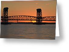 Sunset's Last Light Bridges Over Jamaica Bay Greeting Card