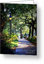 Sunshine On Savannah Sidewalk Greeting Card