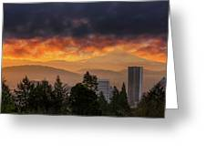 Sunsrise Over City Of Portland And Mount Hood Greeting Card