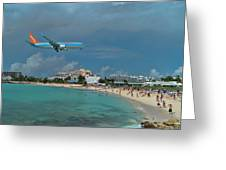 Sunwing Airline At Sxm Airport Greeting Card