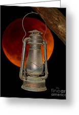 Eerie Light Of An Eclipsed Super-moon Greeting Card
