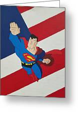 Superman And The Flag Greeting Card